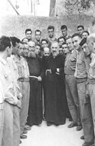 Padre Pio with crowd