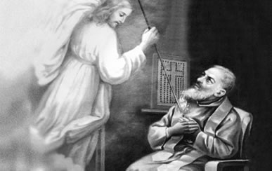 Padre Pio receives the Gift of the Trasverberation